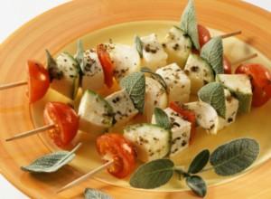 Tofu and vegetable kebabs with sage